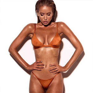 Solid Bikini Push Up Swimwear Brazilian Swimsuit Low Waist Bikini Halter Two Pieces Bathing Suit