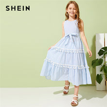Load image into Gallery viewer, SHEIN Kiddie Girls Striped Tassel Trim Flared Boho Dress With Belt Kids 2019 Summer Holiday Sleeveless Zipper Back Long Dresses