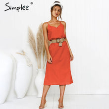 Load image into Gallery viewer, Simplee Bohemian spaghetti strap women midi dress Beach style plus size v-neck summer sundress Elegant casual female dress 2019