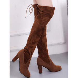 2019 New Faux Suede Slim Boots Sexy Over The Knee High Women Fashion Winter Thigh High Boots Shoes Woman Fashion
