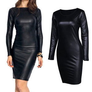 Women's Synthetic Leather Dress Club Long Sleeve PU Leather Pencil Dress Stretch Black Solid Party Dress