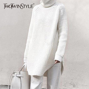 TWOTWINSTYLE Hollow Out Sweater For Women Turtleneck Split Long Sleeve Midi Knitting Jumper 2019 Spring Thick Casual Clothing