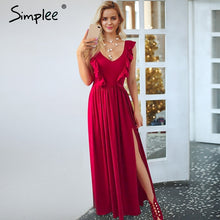 Load image into Gallery viewer, Simplee Sexy pleated red long women dress Ruffles O neck split maxi summer dress 2019 Elegant female club vestidos de fiesta