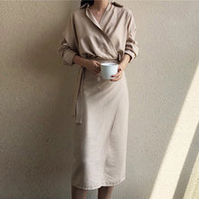 Load image into Gallery viewer, BGTEEVER Casual V neck Solid Midi Wrap Women Dress Lace Up High Waist Full Sleeve Female Dress Retro Blusas Vestido Mujer 2019