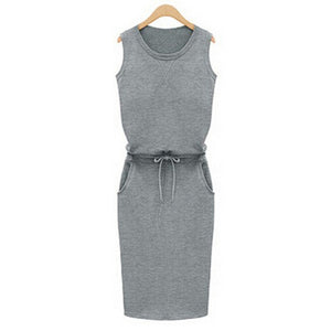 Summer Casual Dress Women Sleeveless Cotton Slim Pencil Dresses Sexy Work Office Dress with Pockets J2218