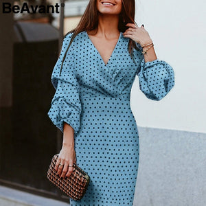 BeAvant Elegant polka dot dress women V-neck lantern sleeve female party dresses Vintage high waist ladies midi dresses vestidos