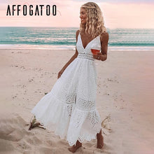 Load image into Gallery viewer, Affogatoo Sexy v neck cotton summer white dress women Elegant embroidery strap long dress Casual high waist button dress female
