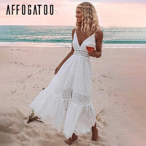 Affogatoo Sexy v neck cotton summer white dress women Elegant embroidery strap long dress Casual high waist button dress female