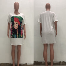 Load image into Gallery viewer, Oversized T Shirt Dress Women Short Sleeve Character Print Tunic Mini Streetwear Dress Autumn Ladies Loose Short Casual Dress