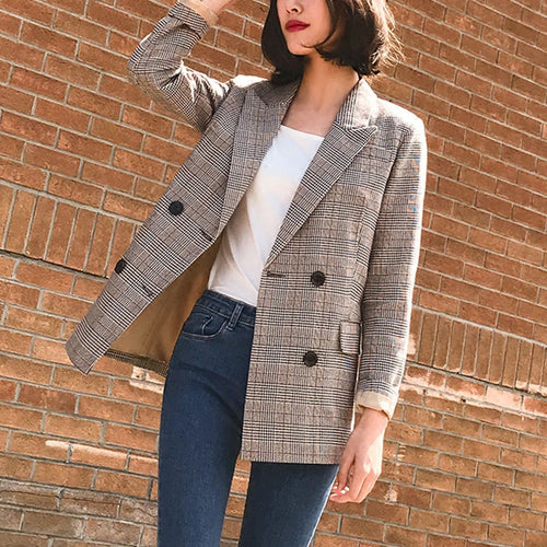 Vintage Double Breasted Plaid Women Blazer Pockets Jackets Female Retro Suits Coat Blazer Outerwear