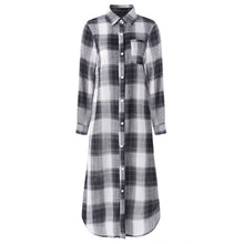 Load image into Gallery viewer, 2019 Plaid Checked Shirt Vestido ZANZEA Women Lapel Neck Long Sleeve Long Dress Casual Buttons Down Cotton Tunic Sundress Robe