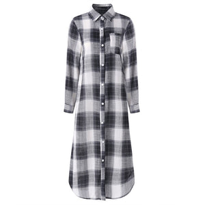 2019 Plaid Checked Shirt Vestido ZANZEA Women Lapel Neck Long Sleeve Long Dress Casual Buttons Down Cotton Tunic Sundress Robe
