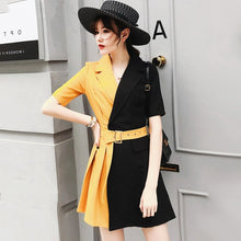 Load image into Gallery viewer, Trytree Summer Autumn Casual Dress Women Notched Collar Yellow Patchwork Black Belt Office Lady Dresses Polyester A-line Dress