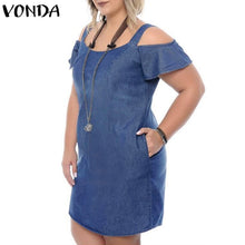 Load image into Gallery viewer, VONDA Plus Size Denim Dress Women 2019 Summer Denim Sundress Sexy Short Sleeve Off Shoulder Mini Dress Casual Ruffles Vestidos
