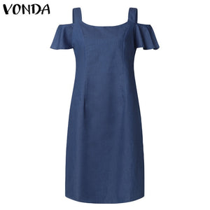 VONDA Plus Size Denim Dress Women 2019 Summer Denim Sundress Sexy Short Sleeve Off Shoulder Mini Dress Casual Ruffles Vestidos