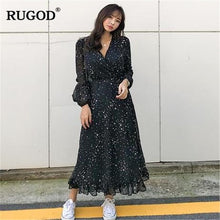 Load image into Gallery viewer, RUGOD Chic Star printed long dress women Fashion V neck Long Sleeve Black chiffon Dress 2019 Spring Summer Big Hem Vestidos