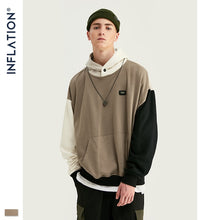 Load image into Gallery viewer, INFLATION Design FW 2019 Contrast Color Men Fashion Hoodies Block Color Men Hoodie With Logo Printed Street Wear Men Loose Fit