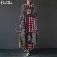 Load image into Gallery viewer, Printed Maxi Dress Women's Sundress 2019 ZANZEA Plus Size Linen Dress Summer Batwing Sleeve Long Tunic Vestiso Casual Party Robe