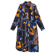 Load image into Gallery viewer, New 2019 Women Autumn Blue Printed Shirt Dress & Sash Long Sleeve Stylish Winter Party Club Dress Ladies Elegant Robe Style 3932