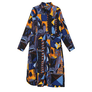 New 2019 Women Autumn Blue Printed Shirt Dress & Sash Long Sleeve Stylish Winter Party Club Dress Ladies Elegant Robe Style 3932