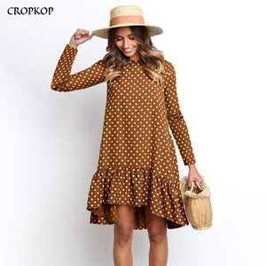 Women Autumn Dress Fashion Polka Dot Chiffon Dress Long Sleeve O Neck Ruffle Female Casual Yellow Dress 2019 Retro Vestido Mujer