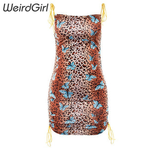 Weirdgirl women dress leopard butterfly print fashion elegant femme straps stretched off shoulder adjustable mini summer new
