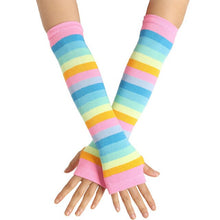 Load image into Gallery viewer, Fashion Lovely Ladies Girl Knitted Long Gloves Winter Warm Women Arm Elbow Warmer Fingerless Dance Gloves Mittens Cute Sock B18
