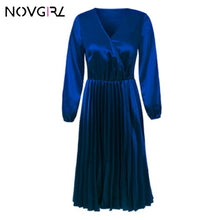 Load image into Gallery viewer, Novgirl Elegant Fit And Flare Pleated Satin Dress Women 2019 Summer Autumn Off Shoulder Long Sleeve Ladies Casual Green Vestidos