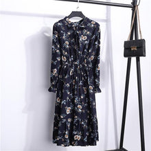 Load image into Gallery viewer, 2019 Spring Autumn Women'S Chiffon Dresses Stand Neck With Bow Floral Print Ruffles Vestido Long Sleeve Elegant Cute Dress S-Xl