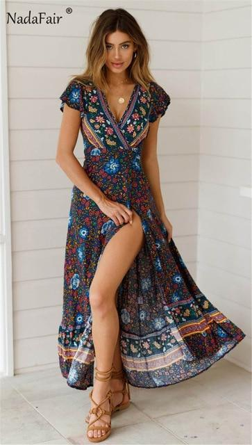 Nadafair Vintage Floral Print Boho Dress Women Split Sexy Beach Maxi Summer Dress Vestidos Sash Lace Up Elegant Party Long Dress