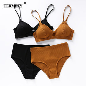TERMEZY High Quality Cotton Underwear Set Fashion Striped Bra Set Noble Girl Lingerie Set Push Up Bra Sexy Bra And Panty Sets