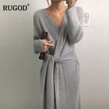 Load image into Gallery viewer, RUGOD 2019 New Korean Belted Cashmere Sweater Dress Women Fashion Office Lady V Neck Knitted Dress Winter Warm Thick Vestidos