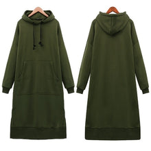 Load image into Gallery viewer, Women's Casual Loose Long Hoodies Autumn Solid Color Sweatshirt Hooded Sweatshirt Dress