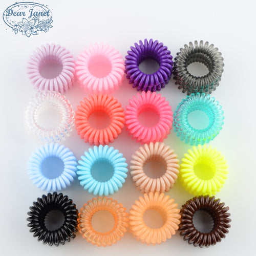 (5) 3.5 Cm Cute Candy Color Telephone Line Hair Gum Styling Headwear Styling Accessories