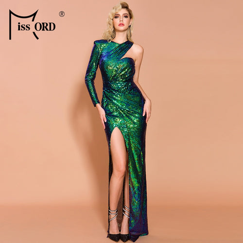 Missord 2019 Women Sexy Deep Irregular Neck  Sequin Dresses Female Backless Gradient High Split Wome Elegant Maxi Dress FT19646