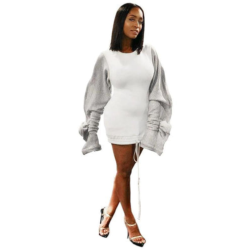 Ruffle Puff Sleeve Casual Hoodie Dress Women Drawstring Split Long Sleeve Sweatshirt Dress Autumn Winter Fleece Plus Size Dress