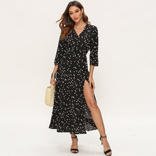 Load image into Gallery viewer, Women Polka Dot Long Dress Boho Sexy V Neck Split Maxi Party Dress Elegant Three Quarter Sleeve Casual Bandage Wrap Dresses