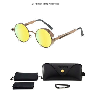 Classic Gothic Steampunk Sunglasses Polarized Round Metal Frame Sun Glasses High Quality UV400