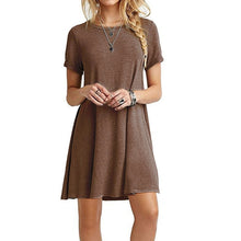 Load image into Gallery viewer, Summer Mini Tent Dress Casual Round Neck Plain Basic Short Sleeve Ladies Dresses Women Dress