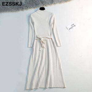 2019 Autumn Winter Maxi Sweater Dress Women Long Sleeve Ol Female Long Sweater Dress With Belt Elegant A-Line Solid Slim Dress