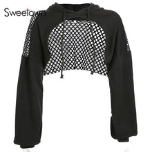 Load image into Gallery viewer, Sweetown Punk Long Sleeve Crop Top Hoodies Sweatshirts Women Black Mesh Fishnet Hollow Out Hip Hop Gothic Hoodie Rave Streetwear