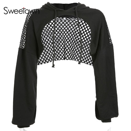 Sweetown Punk Long Sleeve Crop Top Hoodies Sweatshirts Women Black Mesh Fishnet Hollow Out Hip Hop Gothic Hoodie Rave Streetwear