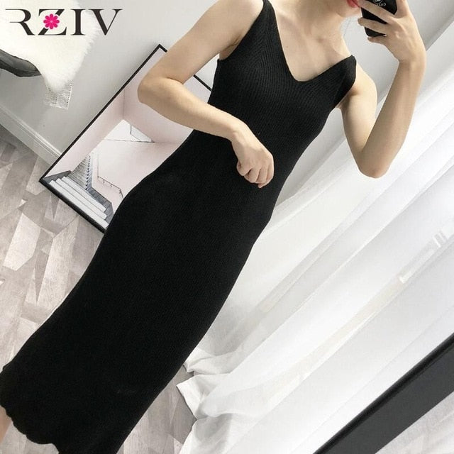 RZIV 2019 Autumn winter female dress slim casual solid color knit vest dress sling harness sweater dress