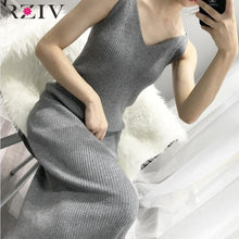 Load image into Gallery viewer, RZIV 2019 Autumn winter female dress slim casual solid color knit vest dress sling harness sweater dress