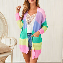 Load image into Gallery viewer, YUANSHU 2019 Autumn Rainbow Knitted Cardigan Women Long Sleeve Patchwork Open Front Striped Sweater Women Coat
