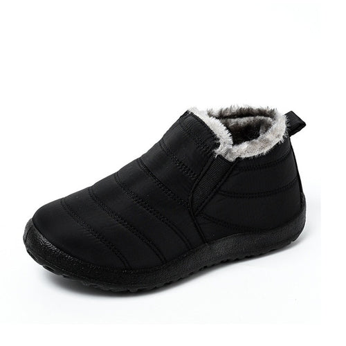 Women's Snow Boots Warm Plush Fur Ankle Boots Winter Slip On Flat Casual Waterproof Ultralight Footwear
