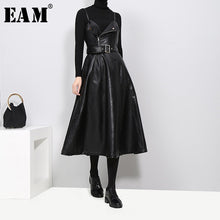 Load image into Gallery viewer, [Eam] 2019 New Autumn Winter Solid Color Strapless Black Pu Leather High Waist Belt Zipper Loose Dress Women Fashion Tide Jd032