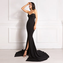 Load image into Gallery viewer, Red Sexy Strapless Padded Stretchy Mermaid Dress Long Split Front Bodycon Black Maxi Dress Floor Length Party Dress