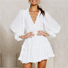 Load image into Gallery viewer, Women Summer Print Ruffle Chiffon Short Dress Sexy Open Back Bohemian Beach Holiday Dress Elegant Vestidos Ladies Skater Dress