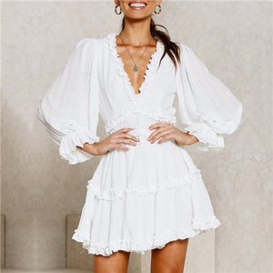 Women Summer Print Ruffle Chiffon Short Dress Sexy Open Back Bohemian Beach Holiday Dress Elegant Vestidos Ladies Skater Dress